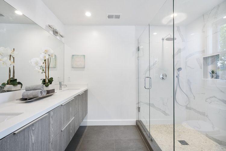 Badezimmer Design Begehbare Dusche Marmor Optik Grau Naturstein Led Beleuchtung Badezimmer Design Shabby Chic Badezimmer Bad Design