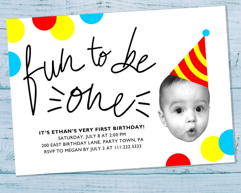 Unique Baby Face Photo First Birthday Party Invitation with Confetti & Party Hat - Boy 1st Birthday Invite - Personalized Printable