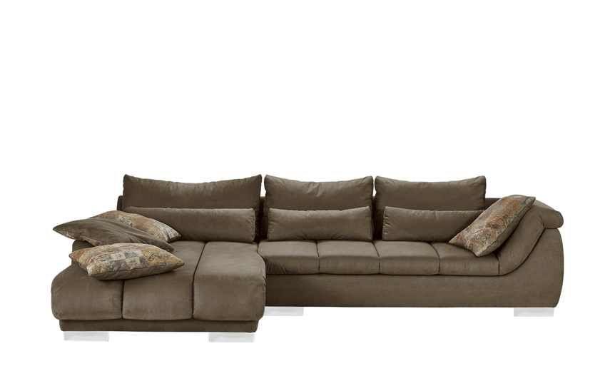 Excellent Couch Clovis Xxl Braun X Cm Mit Hocker Und Kissen Wie Gehabt Nur  In Microvelour Lederoptik Ideas For Home And Houshold Pinterest Living With  Couch ...