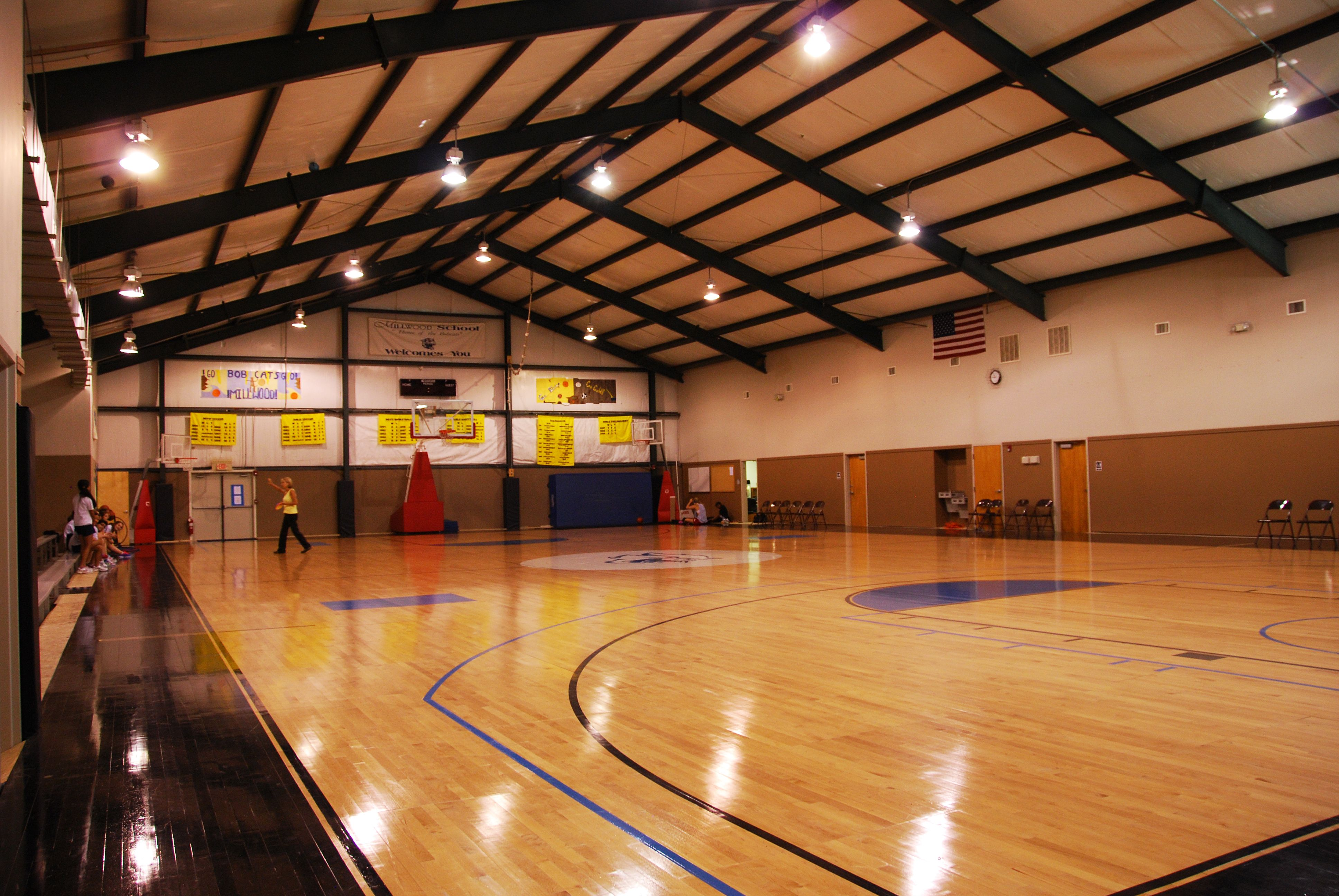 The full size cornerstone gymnasium provides excellent for Basketball gym dimensions