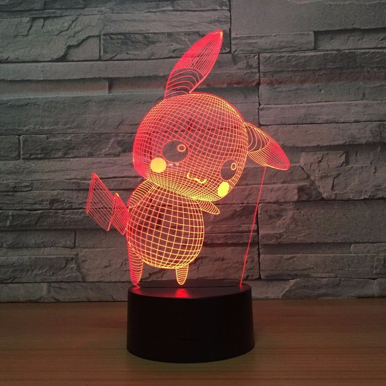 Pokemon Pikachu 3d Optical Illusion Lamp Night Light Etsy 3d Optical Illusions Cool Lamps Etsy