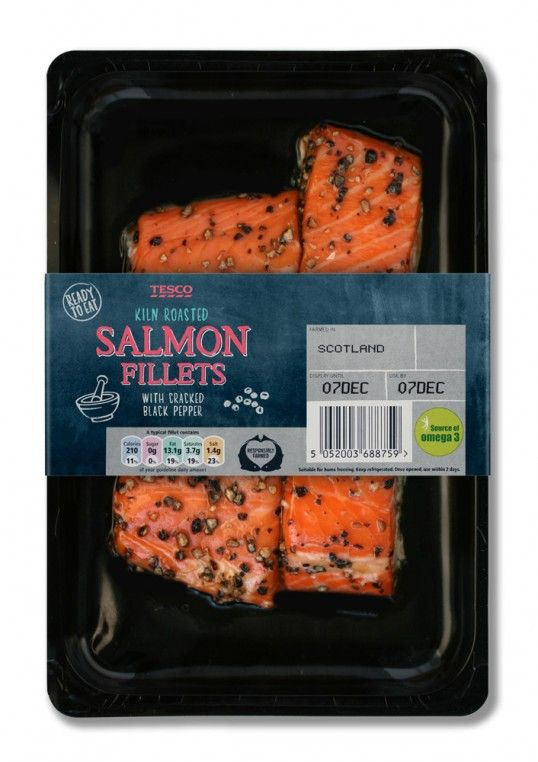 Tesco Fresh Fish Chalkboard Style Packaging Fresh Fish Packaging Packaged Food Food Packaging Design