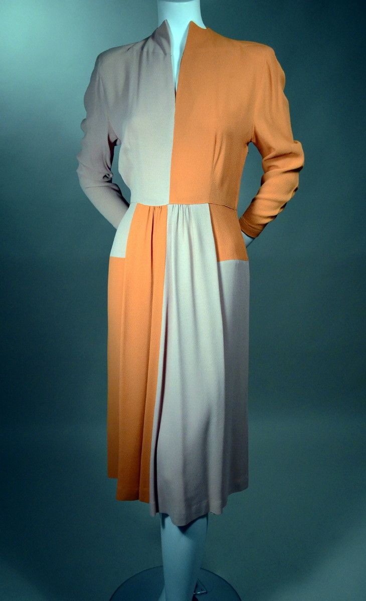 Vintage 1940s Color Block Swag Dress: COLOR BLOCK CREPE 1940's AFTERNOON DRESS