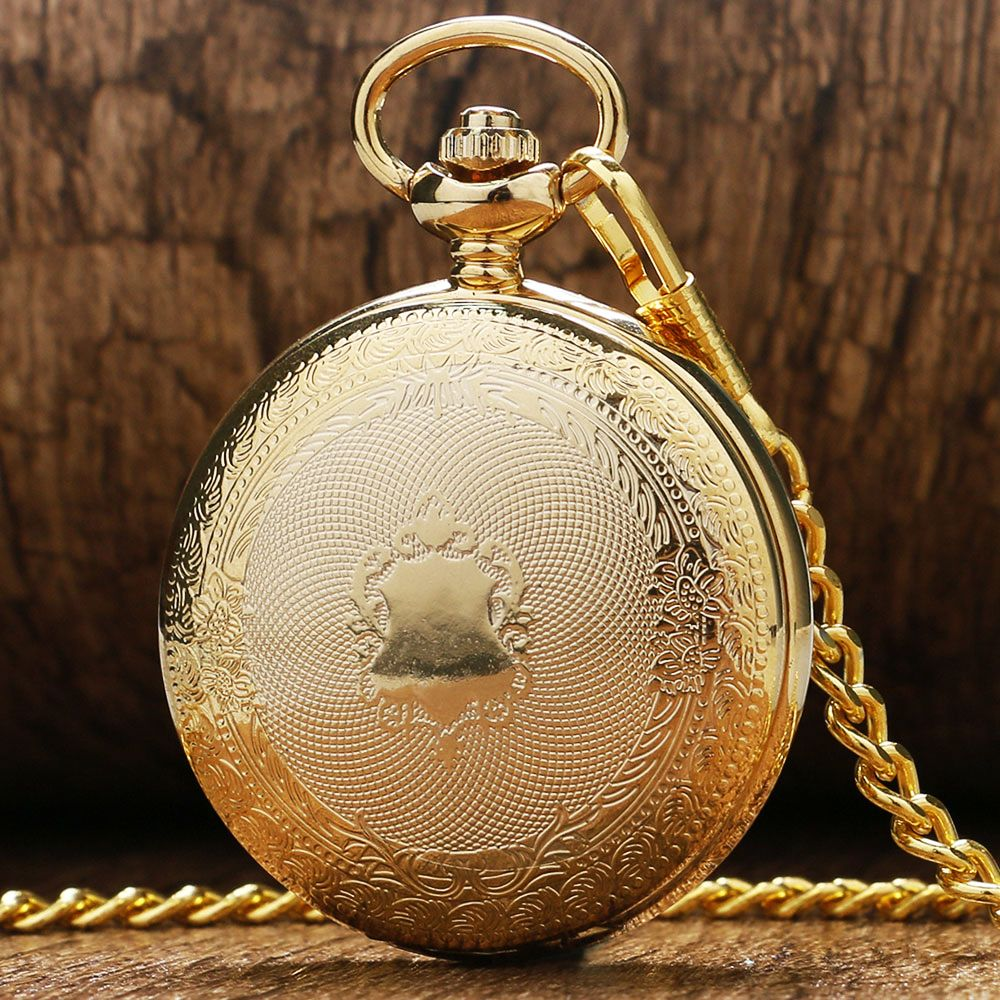 Mens pocket watches with chain images mens gold pocket watches gifts - Luxury Golden Shiled Design Skeleton Black Dial Mechanical Hand Wind Pocket Watch For Men Women Gift