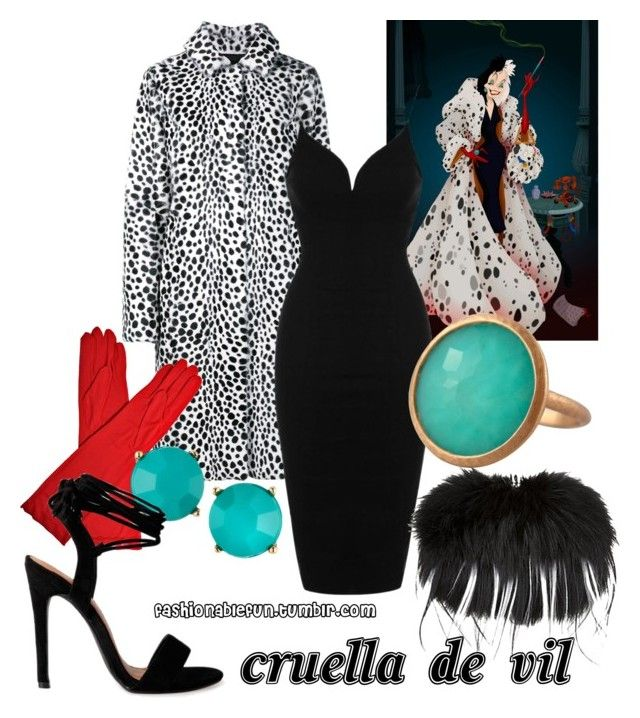 """""""Cruella De Vil"""" by inspiredby-beatrixpotter ❤ liked on Polyvore featuring Givenchy, Topshop, Emily & Ashley, Jona and Alexander McQueen"""