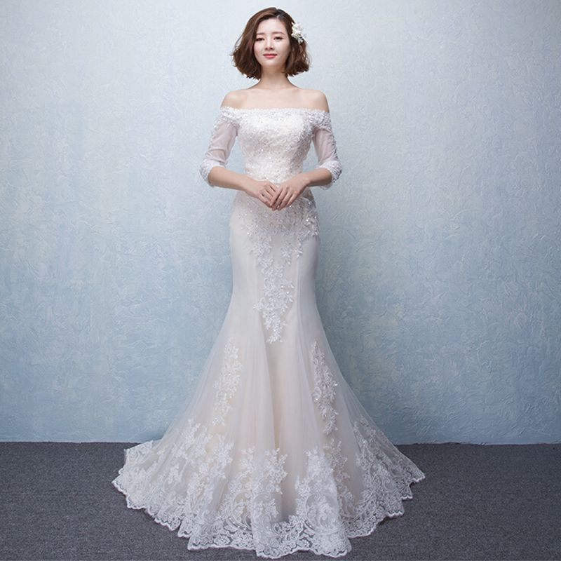 Find More Wedding Dresses Information About Light Champagne Boat Neck Lace Tulle Floor Length Mermaid