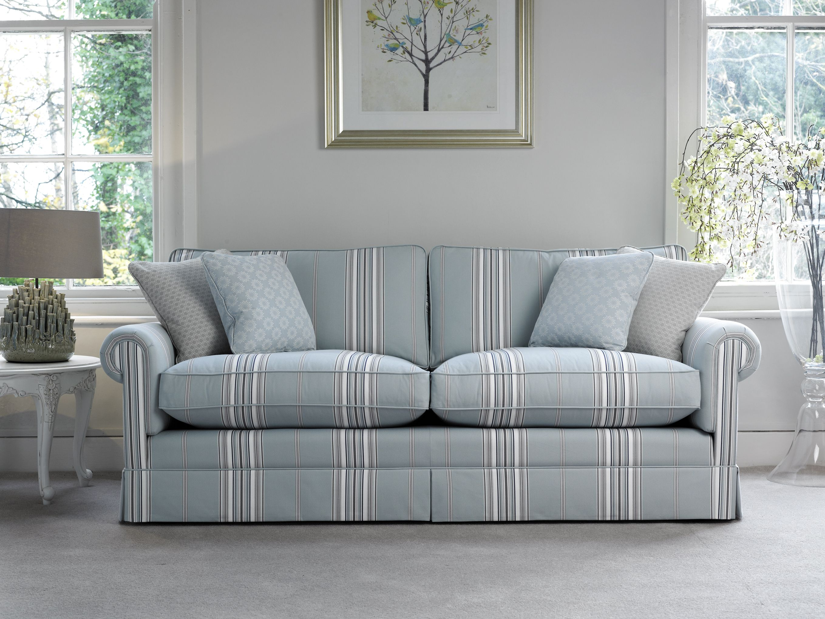 Designer Sofa By Delcor In Blue Striped Fabric