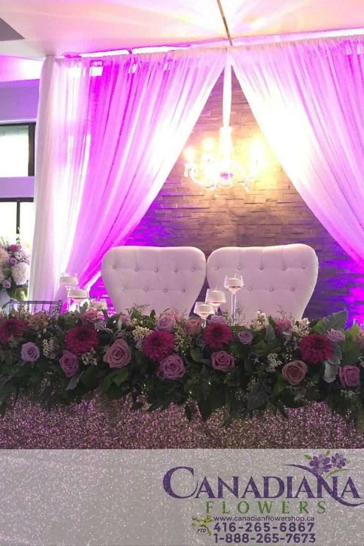 Purple Head Table Decor | Purple Weddings | Pinterest