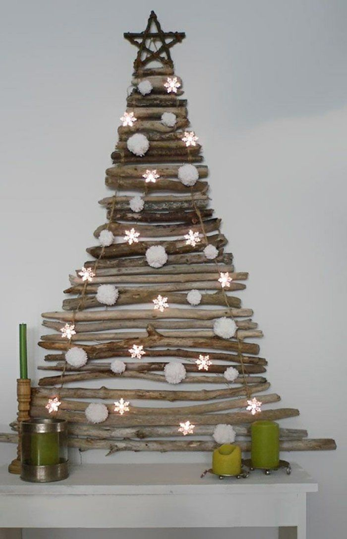 rustikale-weihnachtsdeko-ideen-wandgestaltung-weihnachtsbaum ... - Weihnachtsdeko Ideen Holz