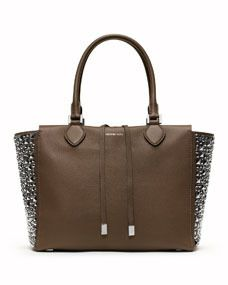 Brown deer leather with silver color studded side tote #bag