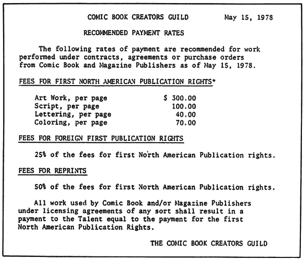 comic book creators guild recommended payment rates comic