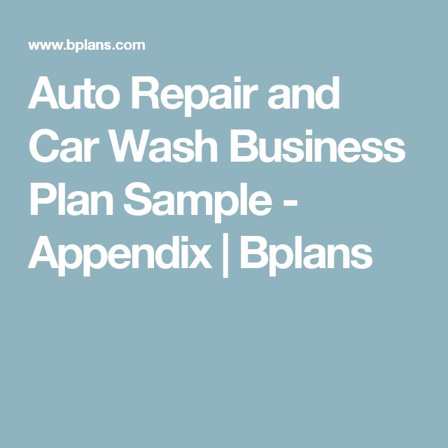 Auto repair and car wash business plan sample appendix bplans auto repair and car wash business plan sample appendix bplans accmission Gallery