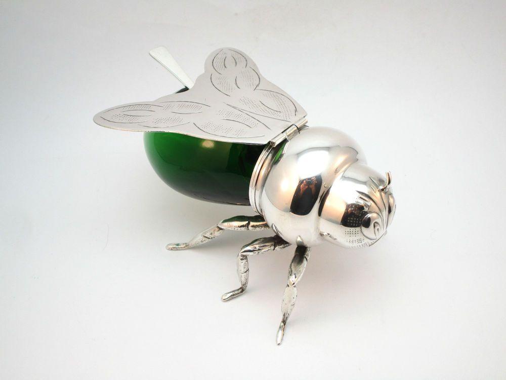 Art Deco Mappin And Webb Bee Form Honey Pot Silver Plate Uranium ...