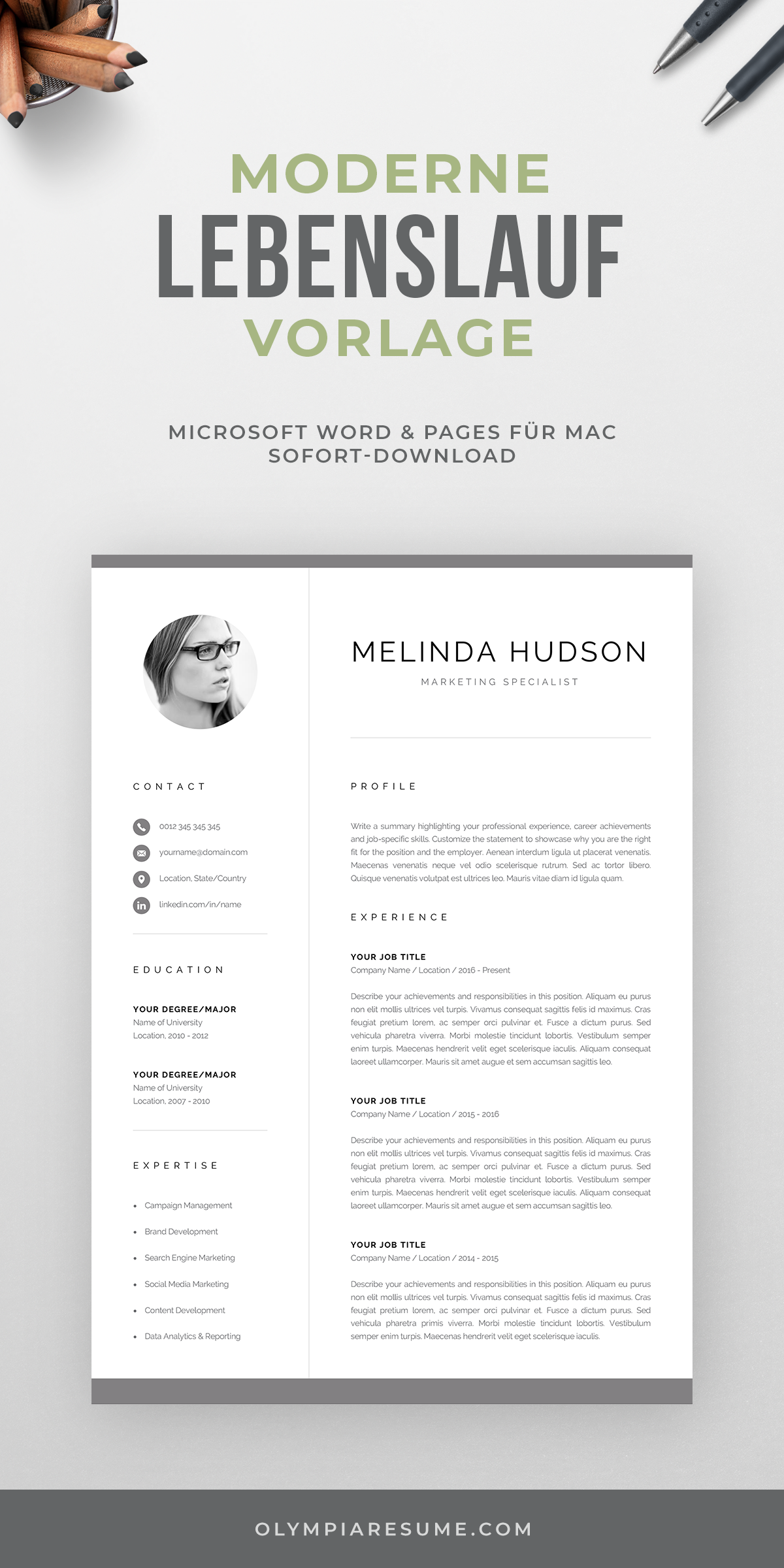 Cv Template With Photo Professional Resume Template For Word And Mac Pages Modern Cv Design 1 2 Page Resume Cover Letter Melinda In 2021 Cv Template Resume Template Professional Resume Template Word