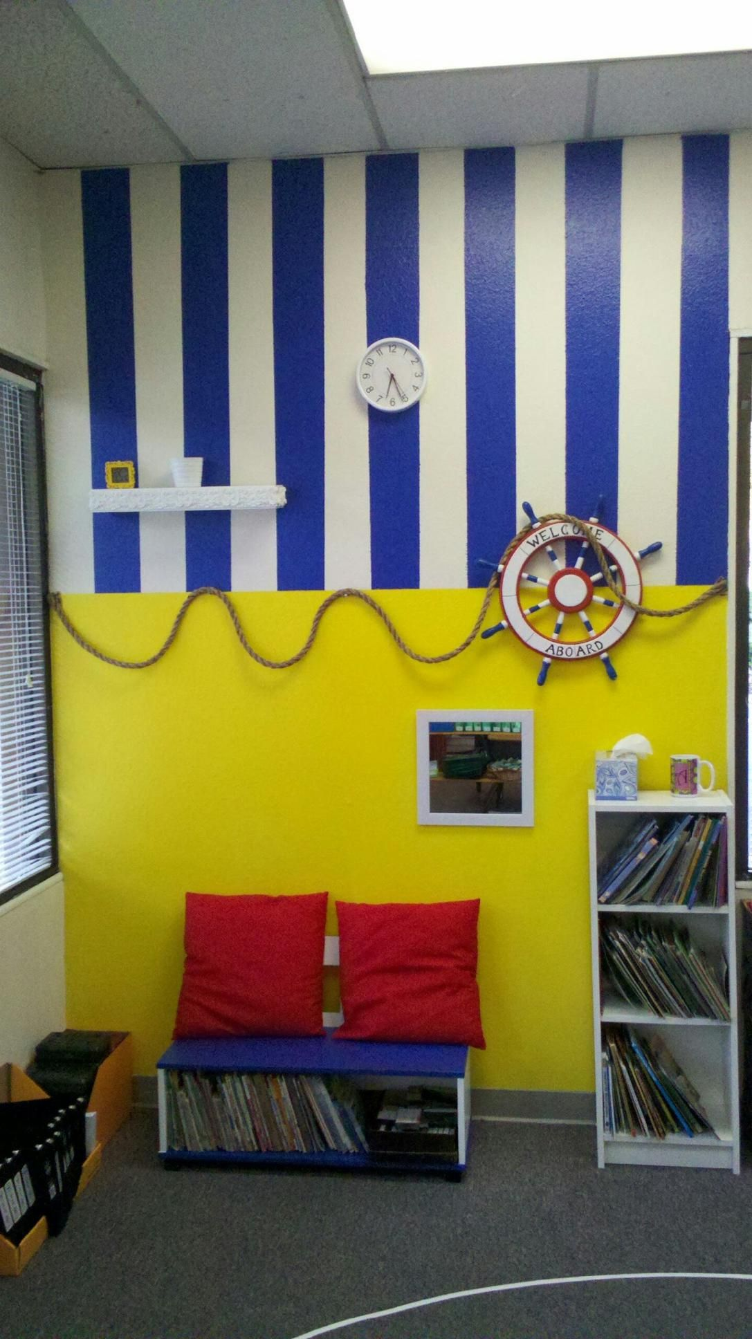 Anchor Classroom Decor ~ Nautical themed book corner my classroom walls