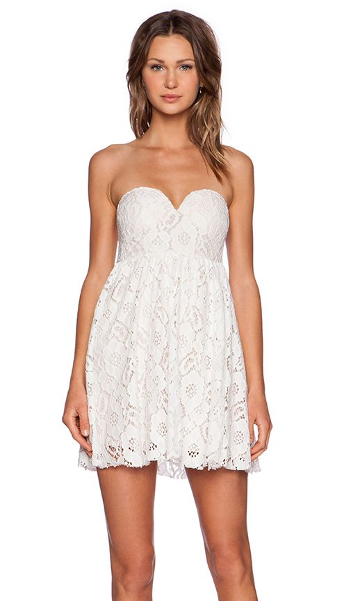 Toby Heart Ginger Summer Lace Strapless Dress in White & Cream | REVOLVE