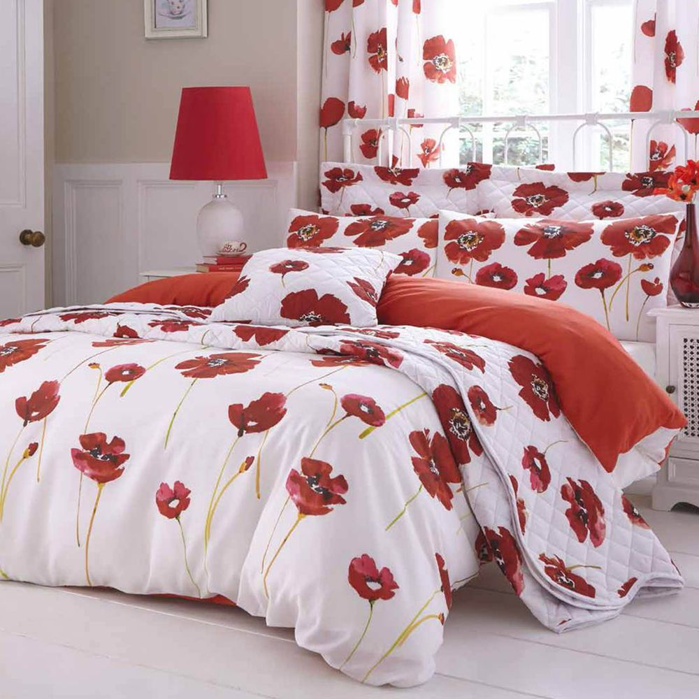 Catherine Lansfield Poppies White Poppy Red Fl Duvet Quilt Cover Bedding Set Catherinelansfield New