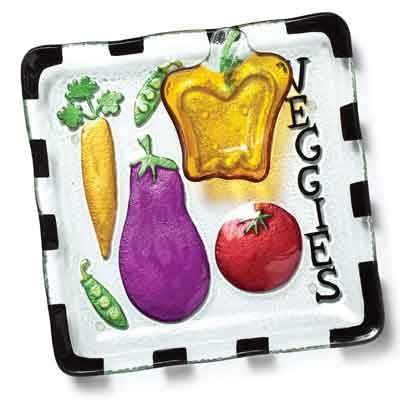 glass fusion veggie platter dip bowl set kolorful kitchen home