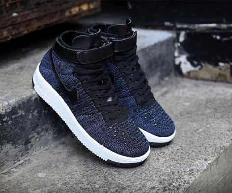 2f7e4502c9aa Nike AF1 Ultra Flyknit Mid Air Force 1 Navy Black Men Casual Shoes ...