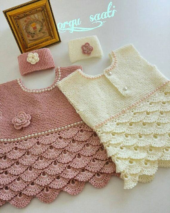 Crochet Baby Dress, Handknit Pink Baby Gown, Ivory Crochet Wearing, Birthday Party Dress, Baby Girl Crochet Clothing, Birthday Gift Girl #babygirlpartydresses