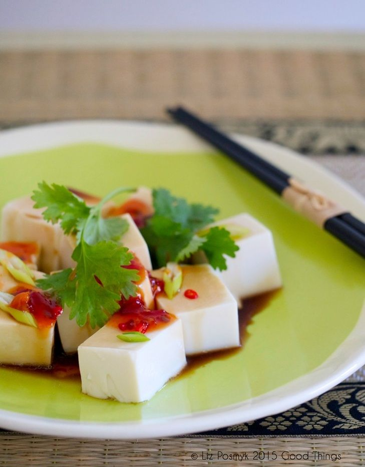 Silken tofu with chilli, coriander and sesame dressing // buzzy lizzy's good things #chinese #tofu #appetizer