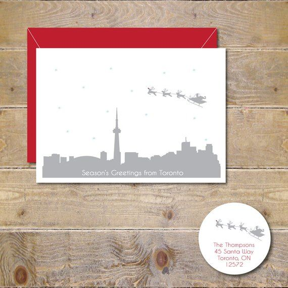 Christmas Cards, Holiday Cards, Santa, Toronto, Skyline