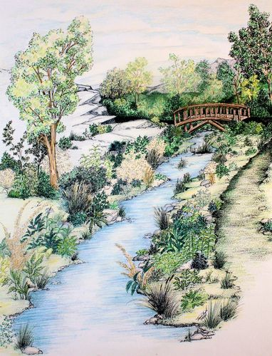 Ink Watercolor Pencil Landscape Drawing Landscape Drawings