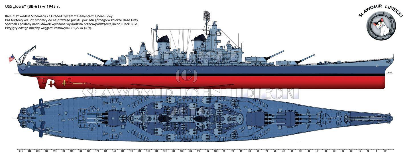the battleship uss iowa bb 61 in 1943  [ 1428 x 559 Pixel ]