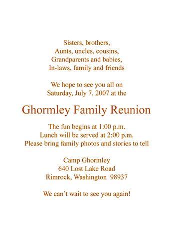 Free Family Reunion Invitations   partyinvitationshq