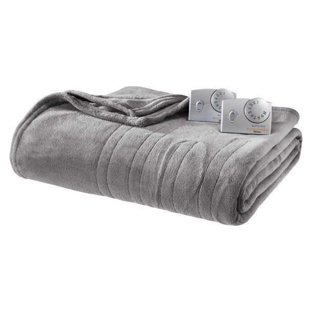 Electric Blanket Heated Heating King Dual Auto Off Biddeford Plush Gray New