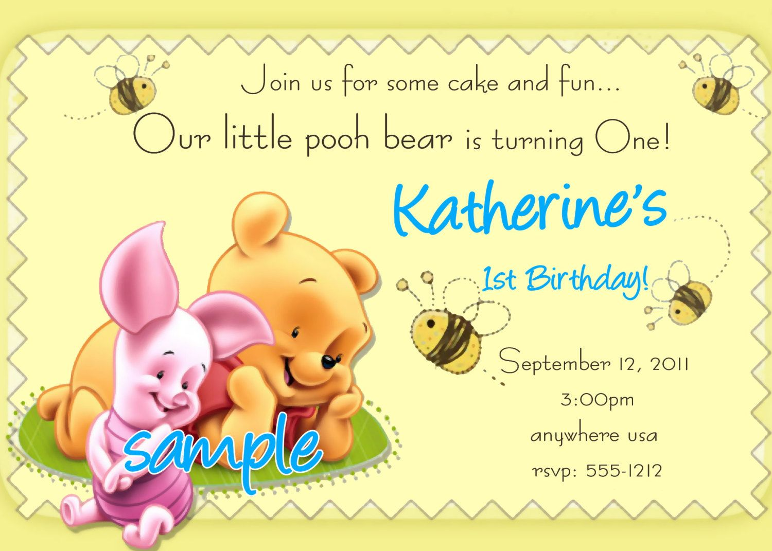 Winnie the Pooh 1st Birthday Invitations by Createphotocards4u – Bday Card Invitation