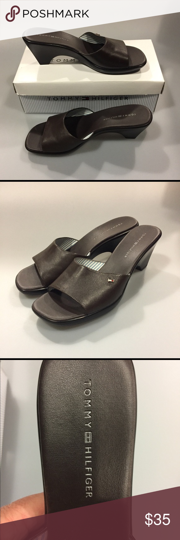 8a4f64cad8d4 Tommy Hilfiger Marie Brown Leather Sandals Tommy Hilfiger Marie Brown  Leather Sandals size 9 M New