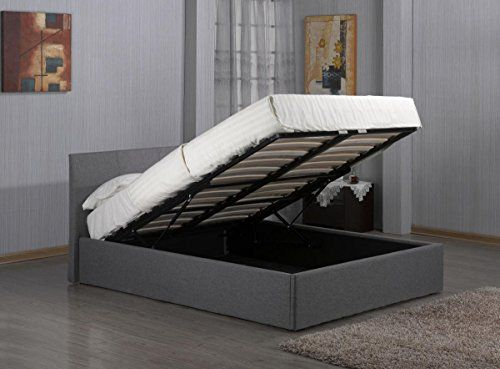 Ottoman Storage Grey Fabric Bed in 3FT 4FT 4FT6 5FT