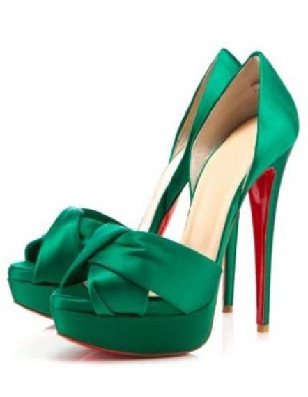 Elegant Green High Heels Platform Satin Womens Heels Dress Sandals ...
