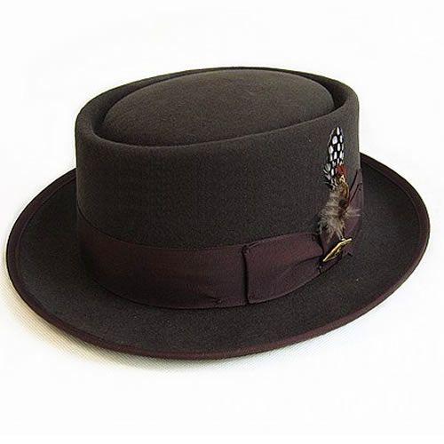 stylish brown winter wool pork pie fedora dress hats mens