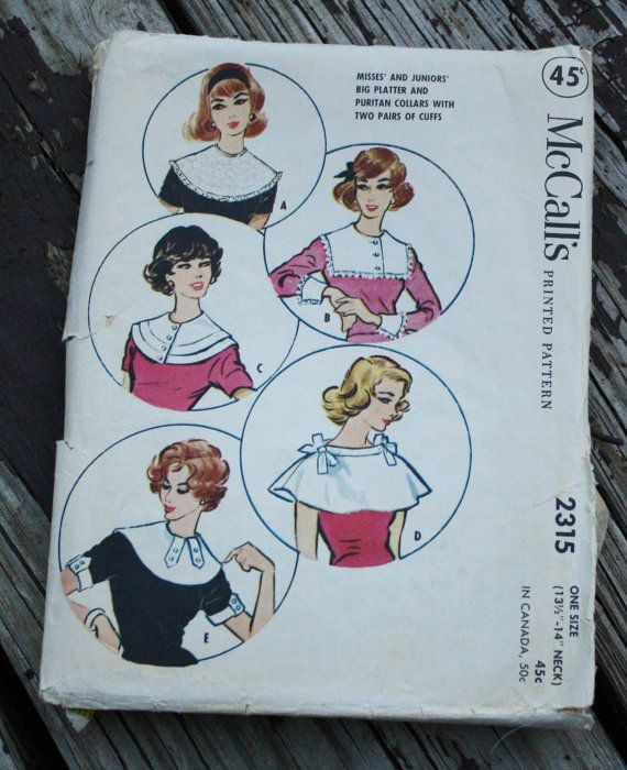 McCall 2315 1950s 50s Platter or Puritan Collar Cuffs Vintage Sewing ...