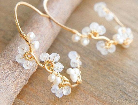 Moonstone Pearl White Hoop Earrings, 14k Gold filled, June Birthstone Jewelry, Boho Wedding, Bridesmaid Earrings