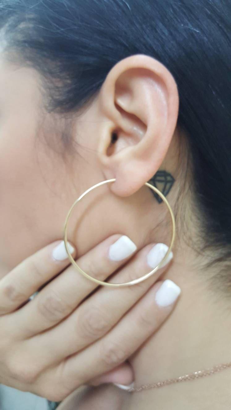 b398c2feedd91 Gift, Hoop earrings, Solid gold hoop earrings, Rose gold hoops, 14k ...
