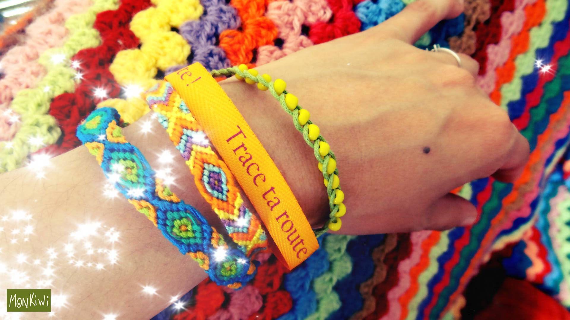 Bracelet manchette, rubans, perles de rocaille, etc...