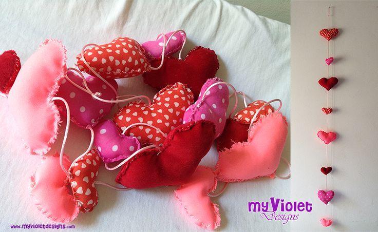 Guirnaldas de corazones y de banderines combinadas :D My Violet myvioletdesigns.com