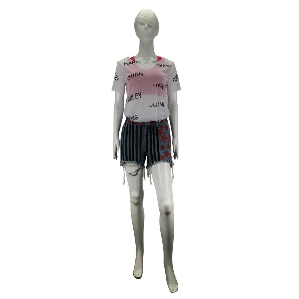 Cosplay Birds of Prey Harley Quinn Suicide Squad Costumes T-Shirt Women Top Prop