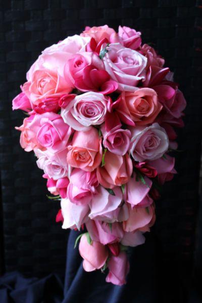 Pretty pink teardrop bouquet mixed pink tone roses and pink pretty pink teardrop bouquet mixed pink tone roses and pink frangipanis the prettiest pink summer bouquet mightylinksfo
