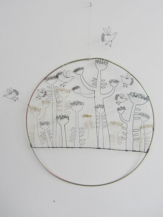 Wire Sculpture 2D Wall Art Drawing Spring By Spacefruit