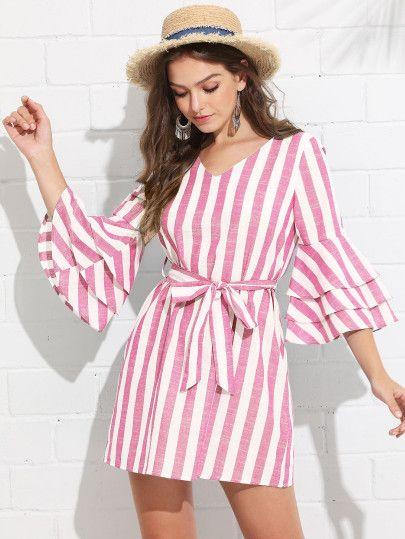 051146fbb9 Tiered Ruffle Sleeve Belted Stripe Dress -SheIn(Sheinside)