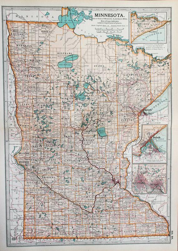 Antique Map : Minnesota, USA, US State Map. Encyclopedia Britannica ...