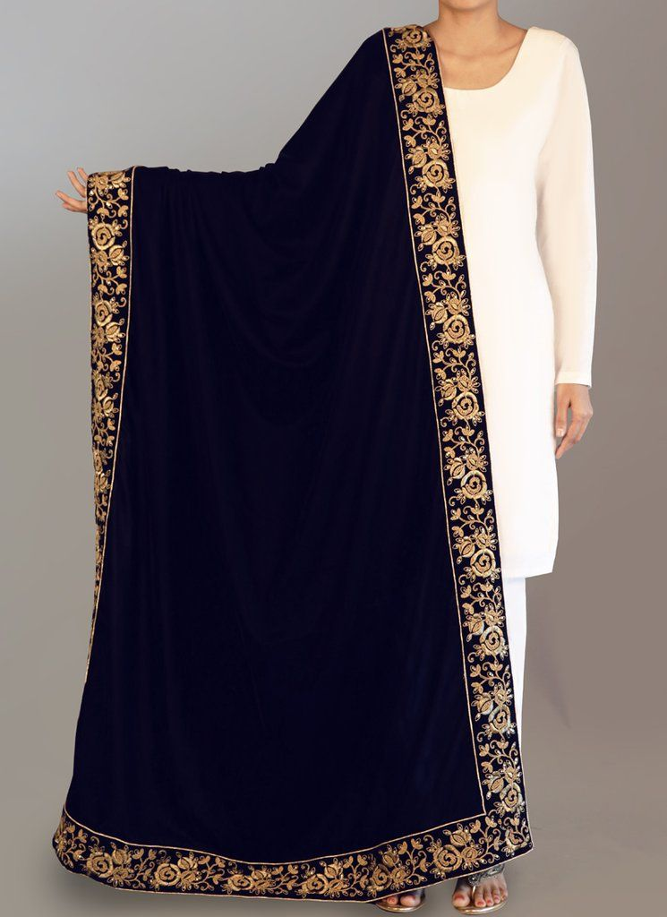 Deep Navy Blue And Gold Embroidered Shawl Is On Micro Velvet Fabric And Features Embroidery Work Which Is Comp Velvet Blouse Design Pakistan Dress Velvet Shawl