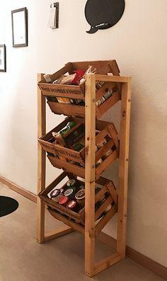 Photo of Wine crate shelf without wine crates. Shelf storage kitchen cabinet kitchen cabi …