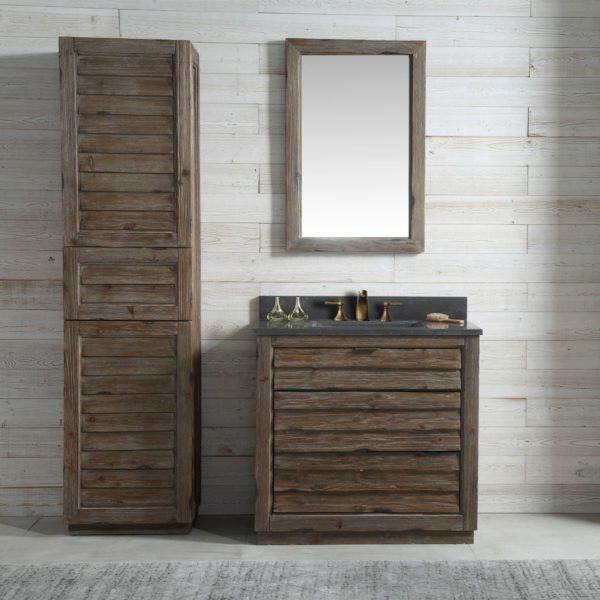 36 Inch Fir Wood Bathroom Vanity Moon Stone Countertop Western