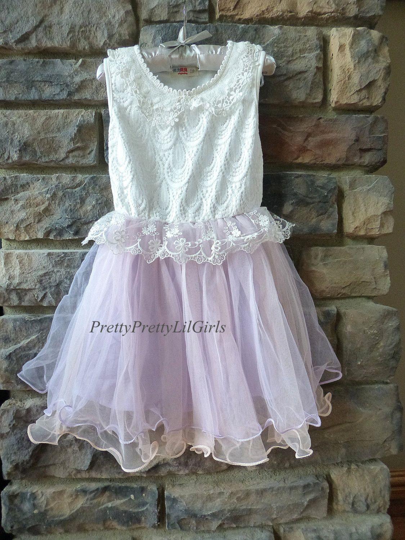 Girls White and Light Purple Flowy Dress - Pretty Pretty ...