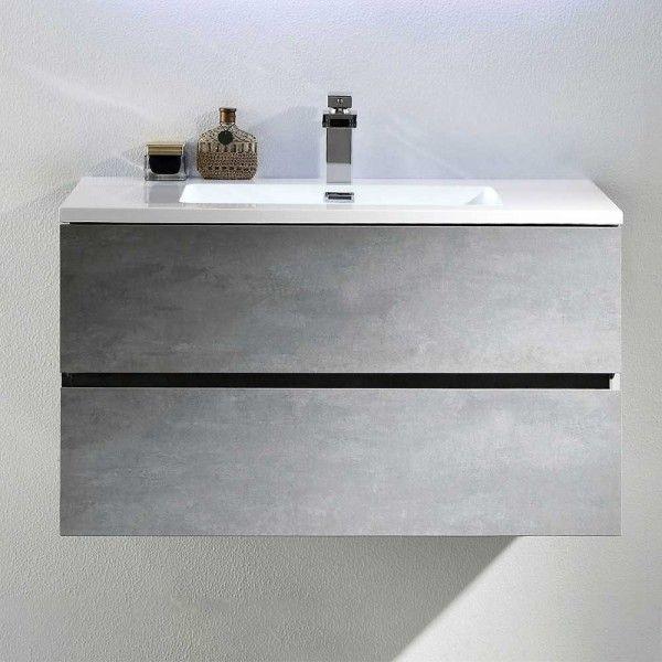 Waschschrank Monziva In Beton Grau Optik Mit Zwei Schubladen Unterschrank Waschbecken Waschbecken Grau Grauer Waschtisch